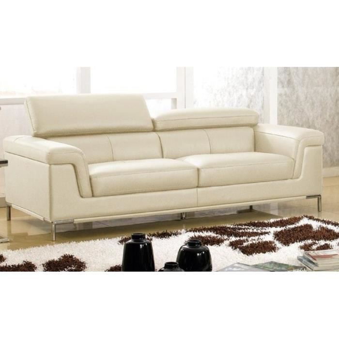 Canap luxe rania 3 places cuir beige design achat - Canape cuir design luxe ...