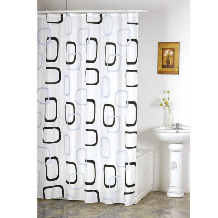 rideau de douche d cor anneaux noirs et gris po achat vente rideau de douche tissu 100. Black Bedroom Furniture Sets. Home Design Ideas