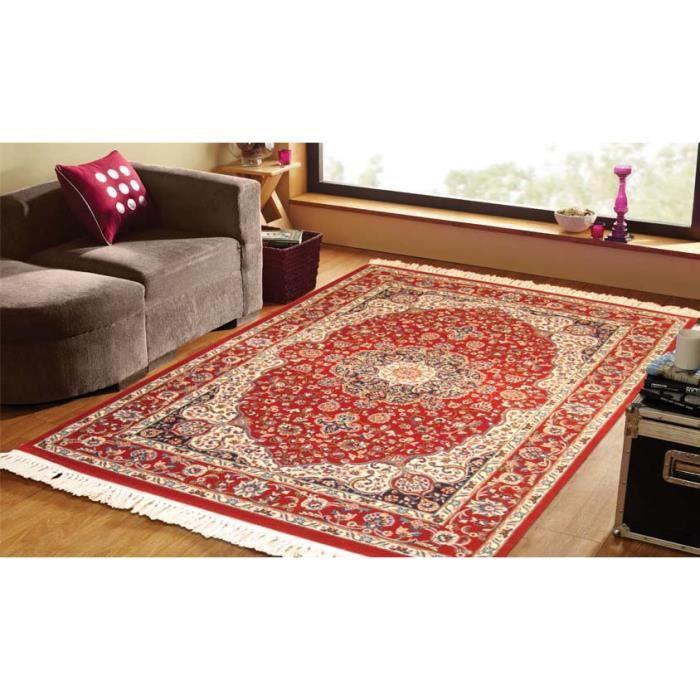 Tapis orient en laine keshan 1022 rouge cm 160x235 for Tapis rouge avec canapé 145 cm
