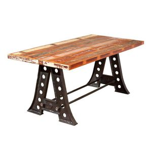 table a manger bois et metal achat vente table a manger bois et metal pas cher cdiscount. Black Bedroom Furniture Sets. Home Design Ideas