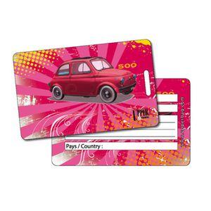 PORTE ADRESSE Etiquette Bagage Retro Fiat Pink