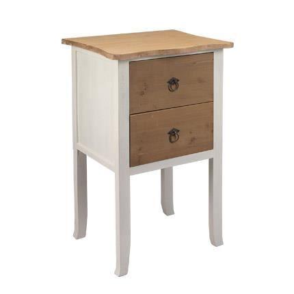 chevet 2 tiroirs 43x31x76cm en bois brut et blanc enkel. Black Bedroom Furniture Sets. Home Design Ideas