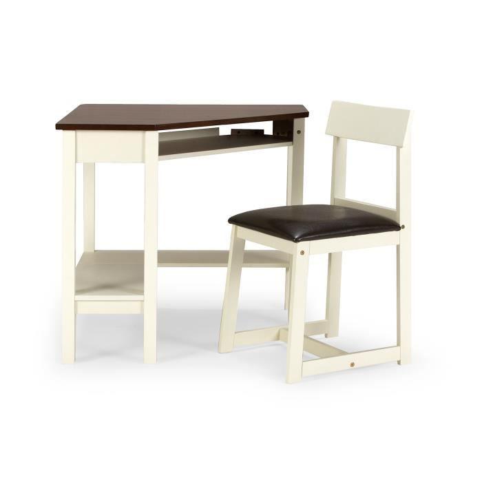 Bureau d 39 angle et chaise arizona en h v a blanc et brun for Bureau d angle en bois massif