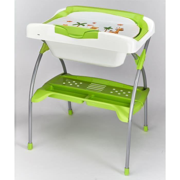 baignoire et table langer baby fox avec chevalet pliant verte achat vente baignoire. Black Bedroom Furniture Sets. Home Design Ideas
