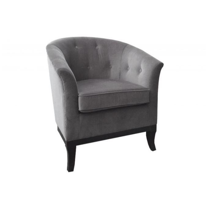 Fauteuil capitonn velours gris costes achat vente fauteuil gris cdiscount - Fauteuil capitonne gris ...