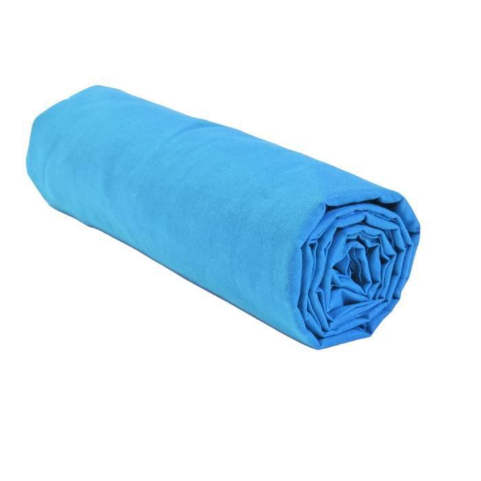 drap housse grand bonnet bleu clair paris achat vente. Black Bedroom Furniture Sets. Home Design Ideas