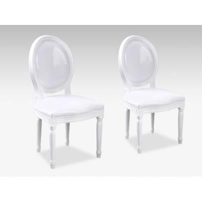 Lot De 2 Chaises Louis Xvi Simili Blanc Brillant Achat Vente Chaise Blanc Cdiscount