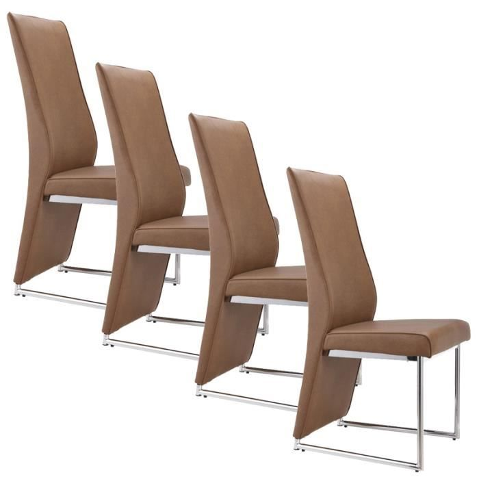 lot de 4 chaises marron dina achat vente chaise marron. Black Bedroom Furniture Sets. Home Design Ideas