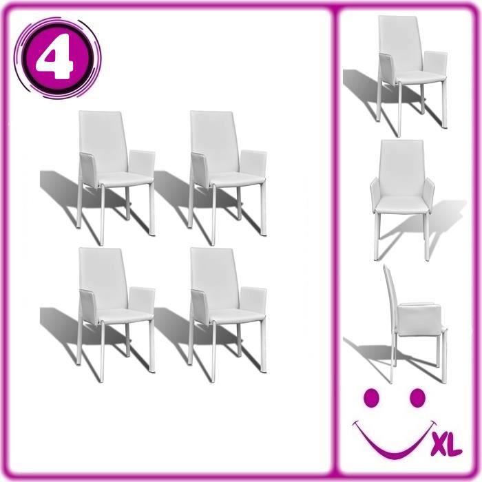 4 fauteuil de salle manger en similicuir blanc achat for Fauteuil salle a manger blanc