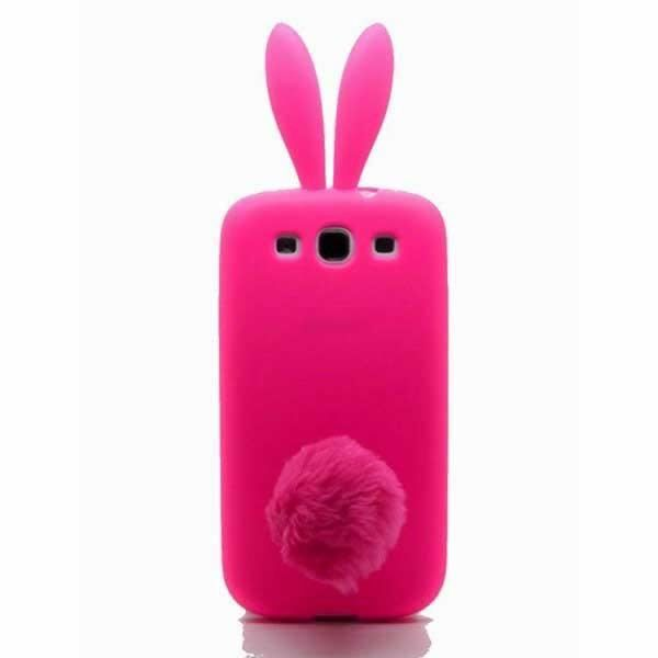 coque samsung galaxy s3 silicone lapin rose achat coque. Black Bedroom Furniture Sets. Home Design Ideas