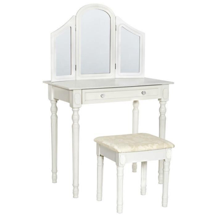 Coiffeuse blanche avec tabouret et miroir artisanal r tro for Coiffeuse blanche avec miroir