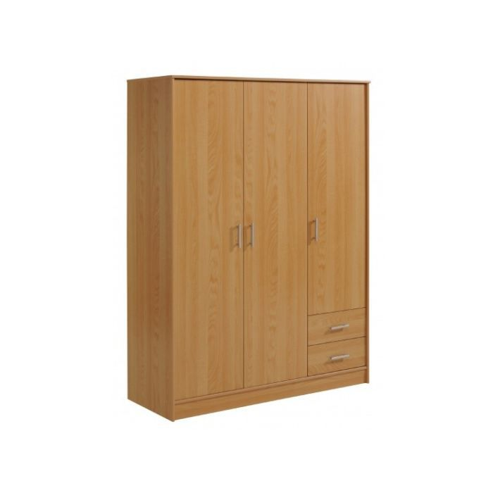 Armoire 3 portes et 2 tiroirs dorotha 2 achat vente for Armoire tiroir chambre