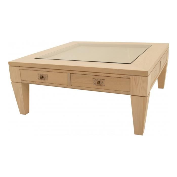 Table basse carr e ch ne 2 tiroirs achat vente table basse table basse ca - Table basse carree chene massif ...