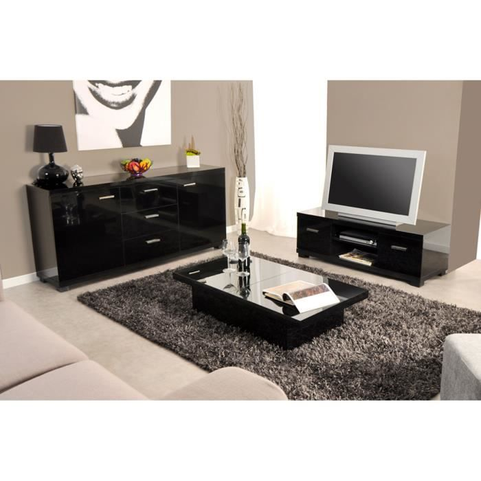 ensemble meuble tv table basse buffet noir achat. Black Bedroom Furniture Sets. Home Design Ideas