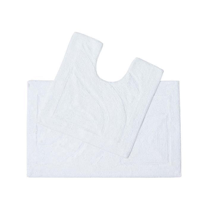 tapis de bain pur coton haut de gamme 2 pi ces blanc achat vente tapis de bain 5055967428416. Black Bedroom Furniture Sets. Home Design Ideas