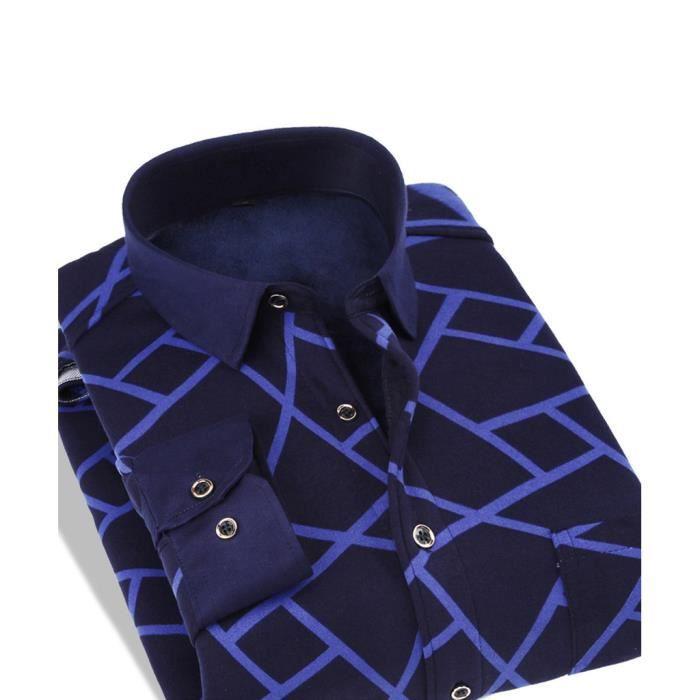chemise chaude homme manche longue d 39 hiver bleu profond. Black Bedroom Furniture Sets. Home Design Ideas