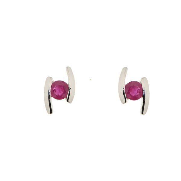 boucles d 39 oreilles or blanc rubis achat vente boucle d. Black Bedroom Furniture Sets. Home Design Ideas