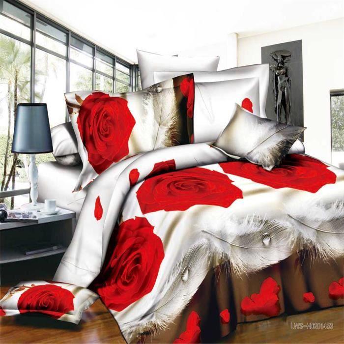 Parure de couette parure de lit gouttes de plumes et de roses 1 housse de couette 220x240cm 2 - Laver oreiller en plume ...