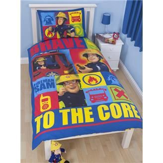 sam le pompier parure de couette 1 per lit 90cm achat. Black Bedroom Furniture Sets. Home Design Ideas