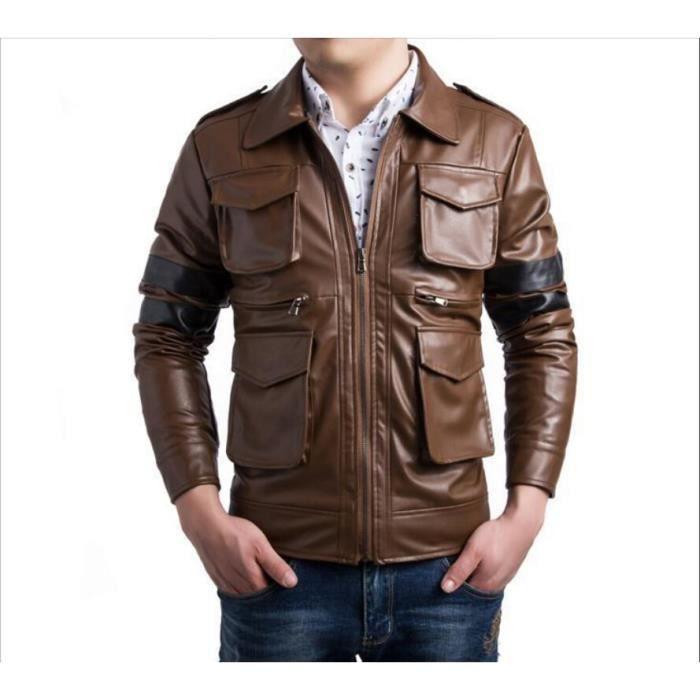 Hommes marque pu veste en cuir mode zipper vestes printemps automne achat vente doudoune - Laver une veste en cuir ...