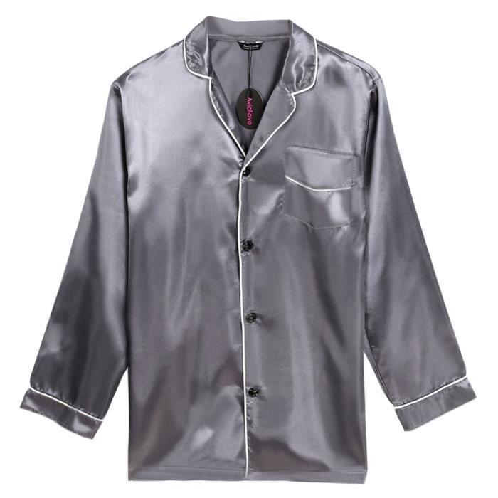 chemise de nuit homme finejo manches longues bo gris achat vente chemise de nuit cdiscount. Black Bedroom Furniture Sets. Home Design Ideas