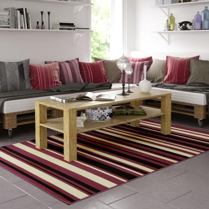 Tapis salon lignes violet universol achat vente tapis cdiscount - Tapis decoratif salon ...