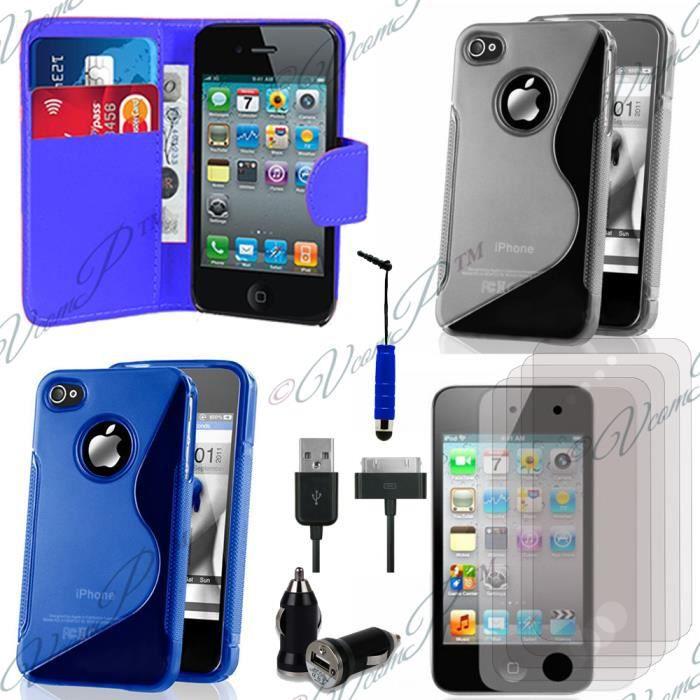 accessoires chargeur voiture portefeuille pour apple iphone 4 4s 4g bleu achat accessoires. Black Bedroom Furniture Sets. Home Design Ideas
