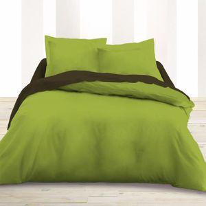 housse de couette 220x240 vert achat vente housse de couette 220x240 vert pas cher cdiscount. Black Bedroom Furniture Sets. Home Design Ideas