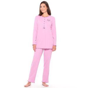 CHEMISE DE NUIT Pyjama manches longues, pur coton, femme