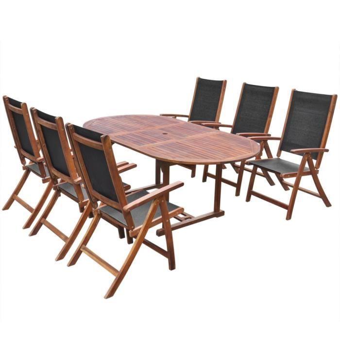 Magnifique vidaxl jeu de mobilier de salle a manger pliable 7 pcs bois d 39 - Mobilier de salle a manger ...