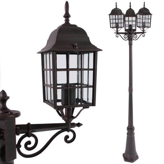 lampadaire d 39 ext rieur 3 lanternes couleur roui achat vente lampadaire d 39 ext rieur 3. Black Bedroom Furniture Sets. Home Design Ideas