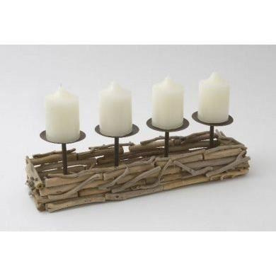porte bougie main bois flott pour 4 bougies rustique