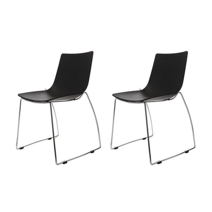 miliboo lot de deux chaises design luge noire achat vente chaise acier chrom. Black Bedroom Furniture Sets. Home Design Ideas