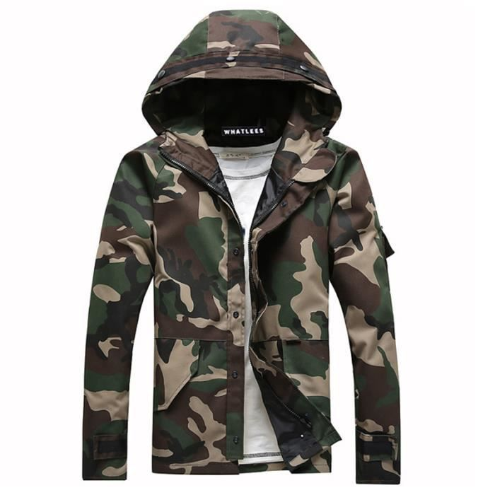 camouflage veste capuche homme marque parka windbreaker blouson homme arm e verte arm e verte. Black Bedroom Furniture Sets. Home Design Ideas
