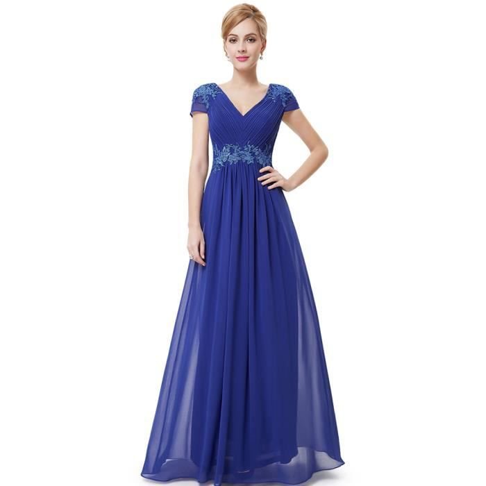 Robe de demoiselle bleu d 39 honneur en mousseline de soie d 39 t robe de soir e col v bleu achat - Robe bleu demoiselle d honneur ...