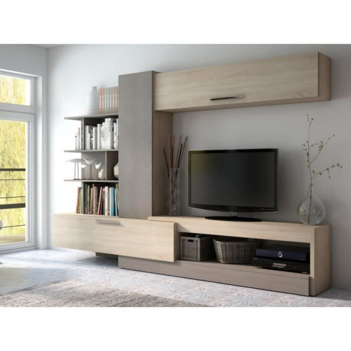 Mur tv spike avec rangements ch ne taupe achat for Meuble tv taupe