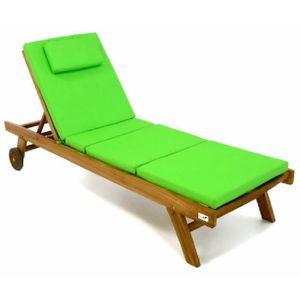 CHAISE LONGUE Chaise longue en teck, et son coussin couleur vert