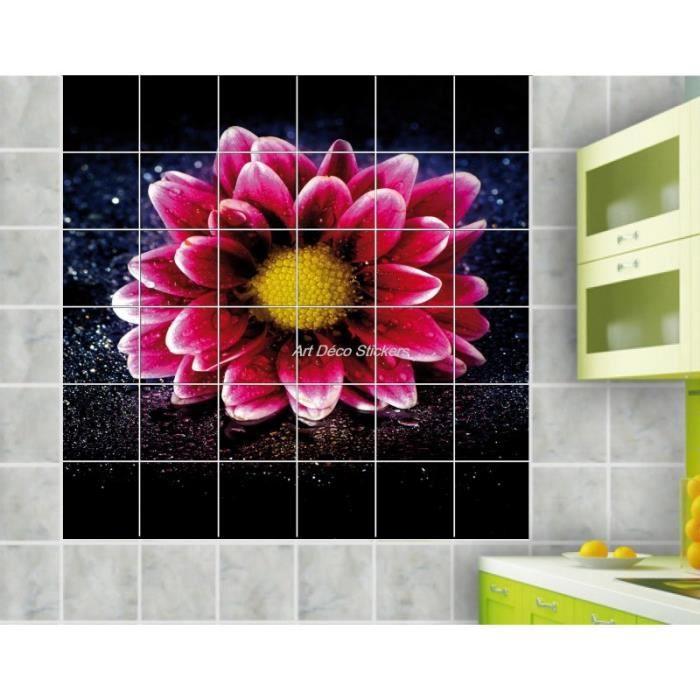 Sticker carrelage mural d co fleur 10x10cm 1 achat - Decoration carrelage mural cuisine ...