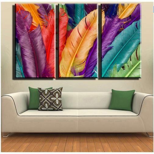 Pipihua plumes 3 panneaux color s de photos modernes de peinture de la peintu - Tableaux modernes colores ...