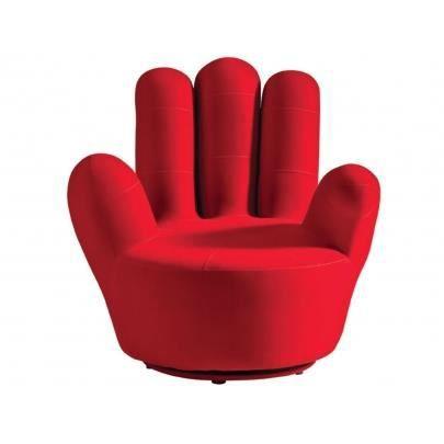 Fauteuil main handy en tissu rouge achat vente fauteuil rouge soldes - Pouf en forme de main ...