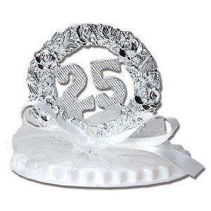 Anniversaire de mariage sur socle double 7 5 cm 25 ans for Decoration 25 ans