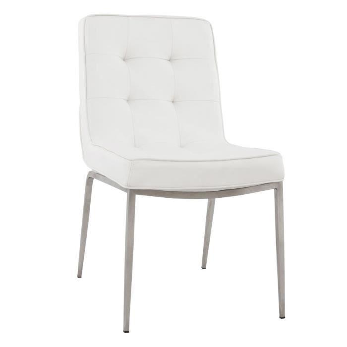 Chaise capitonn e 39 kool 39 blanche en pu achat vente - Chaise blanche capitonnee ...
