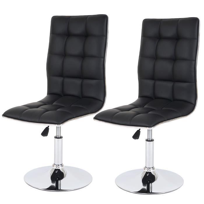 2 chaises de salle manger simili cuir noir achat - Chaise salle a manger cuir noir ...