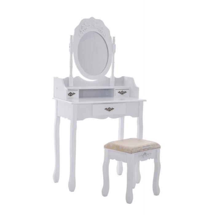 Coiffeuse avec tabouret miroir table maquillage en bois for Meuble coiffeuse avec tabouret