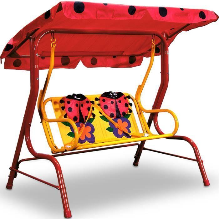 balancelle enfants jardin rouge motifs beetle achat. Black Bedroom Furniture Sets. Home Design Ideas