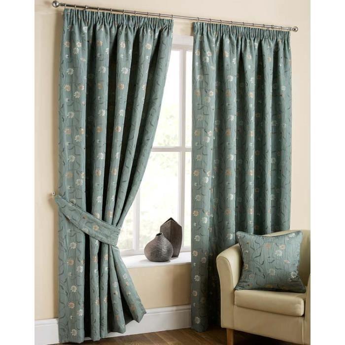 rideaux galon fronceur bleu petites fleurs rose et blanc 228 x 137 cm achat vente rideau. Black Bedroom Furniture Sets. Home Design Ideas