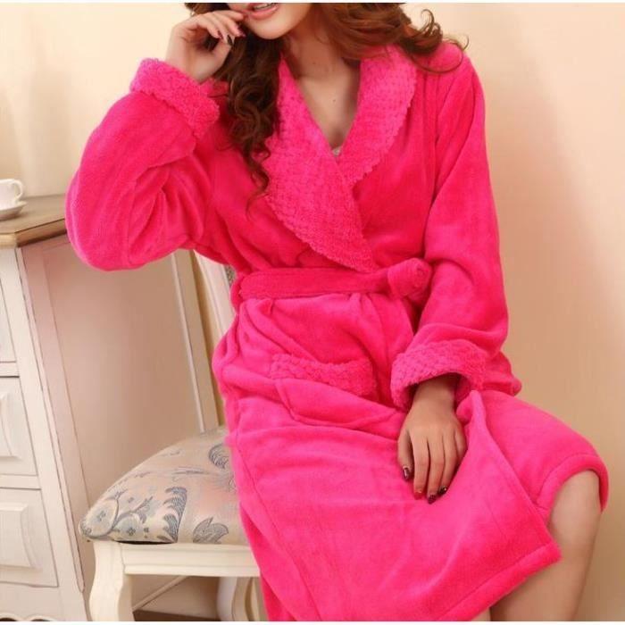 Robe de chambre femme rose fonc col ch le epais achat vente peignoir cdiscount - Robe de chambre femme leclerc ...