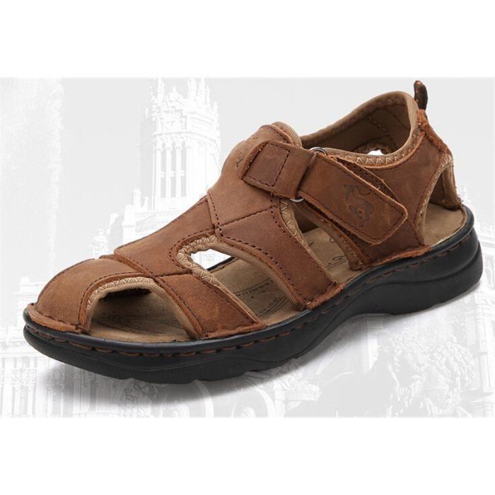 enfant gar on sports cuir sandales chaussures marron. Black Bedroom Furniture Sets. Home Design Ideas