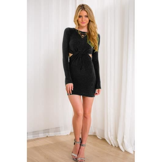 robes de mode achat robe noire manche longue. Black Bedroom Furniture Sets. Home Design Ideas