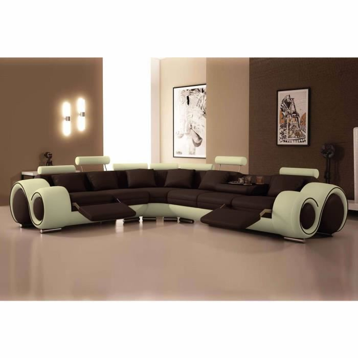 canap d 39 angle cuir marron et beige t ti res achat vente canap sofa divan cuir bois. Black Bedroom Furniture Sets. Home Design Ideas